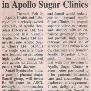 Sanofi's investment in Apollo Sugar Clinics Coverage Report-4