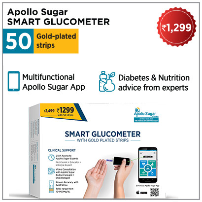 Apollo Smart Glucometer with 50 Strips