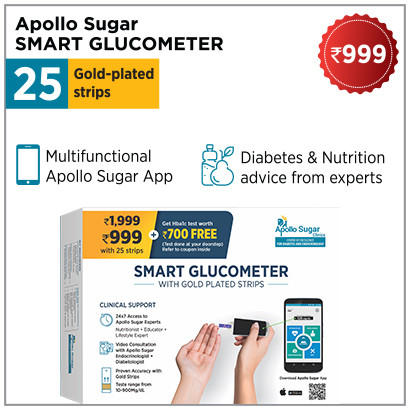 Apollo glucometer with 25 strips