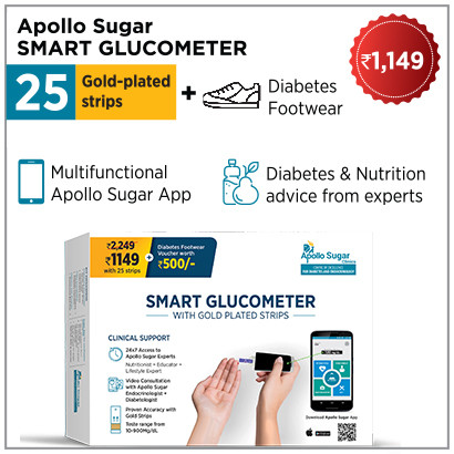 Glucometer with 25 strips and footwear