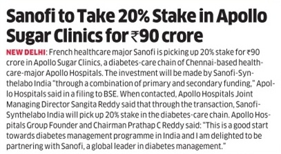 Sanofi's investment in Apollo Sugar Clinics Coverage Report-2