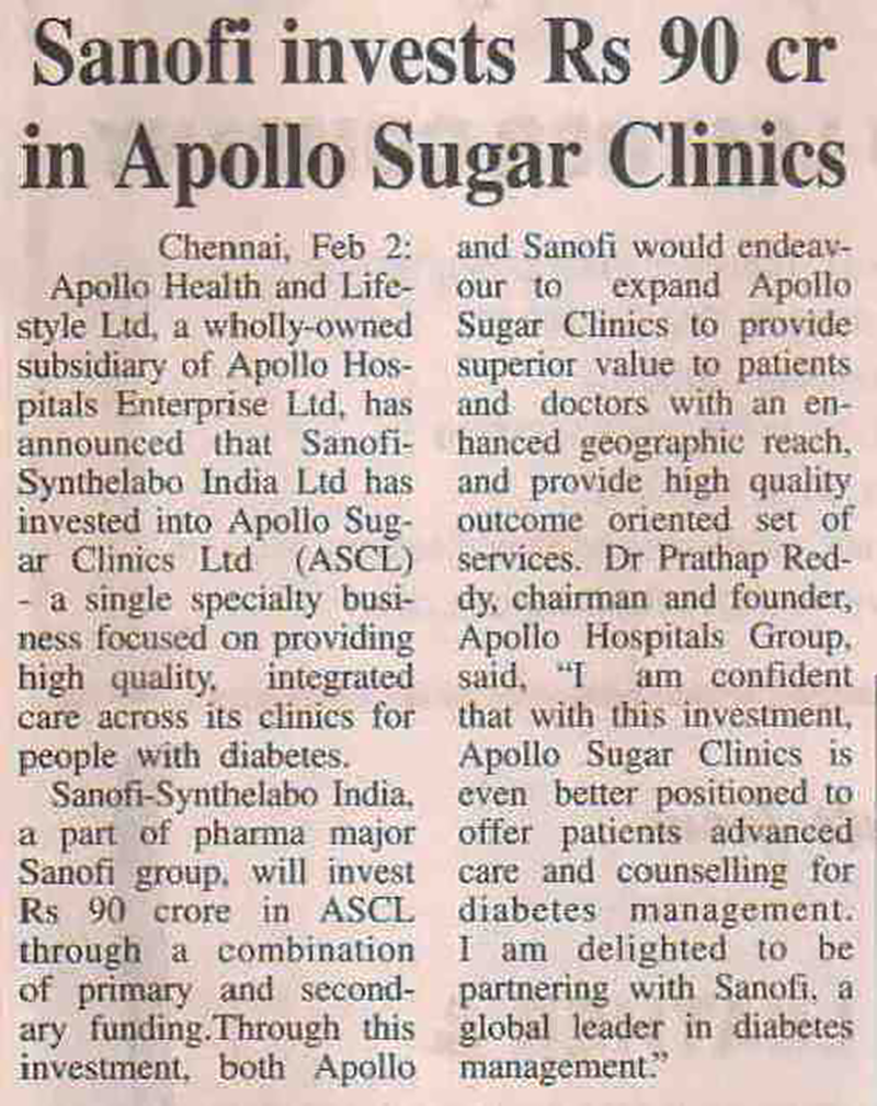 Sanofi's investment in Apollo Sugar Clinics Coverage Report-4