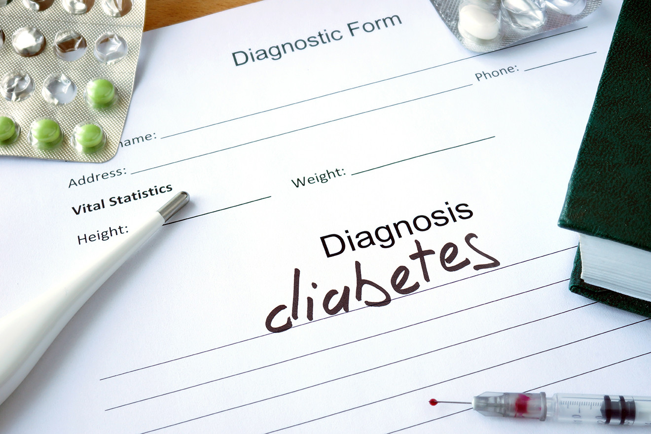 Diagnosis diabetes written on medical report