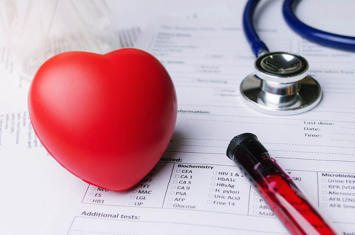 Heart model with lab report & stethscope