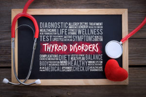 Thyroid disorders written on slate