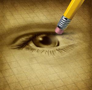 Erasing eye drawing with pencil end